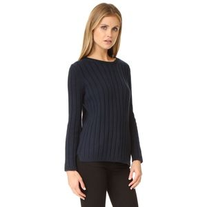 525 america • navy wide ribbed cotton sweater • s